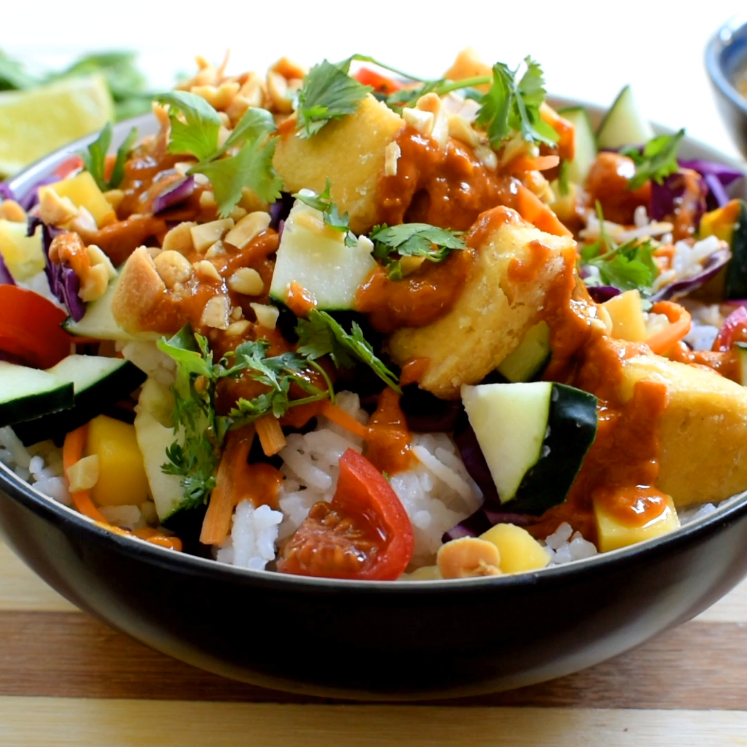 Photo of Thai Buddha Bowl with Peanut Red Curry Sauce