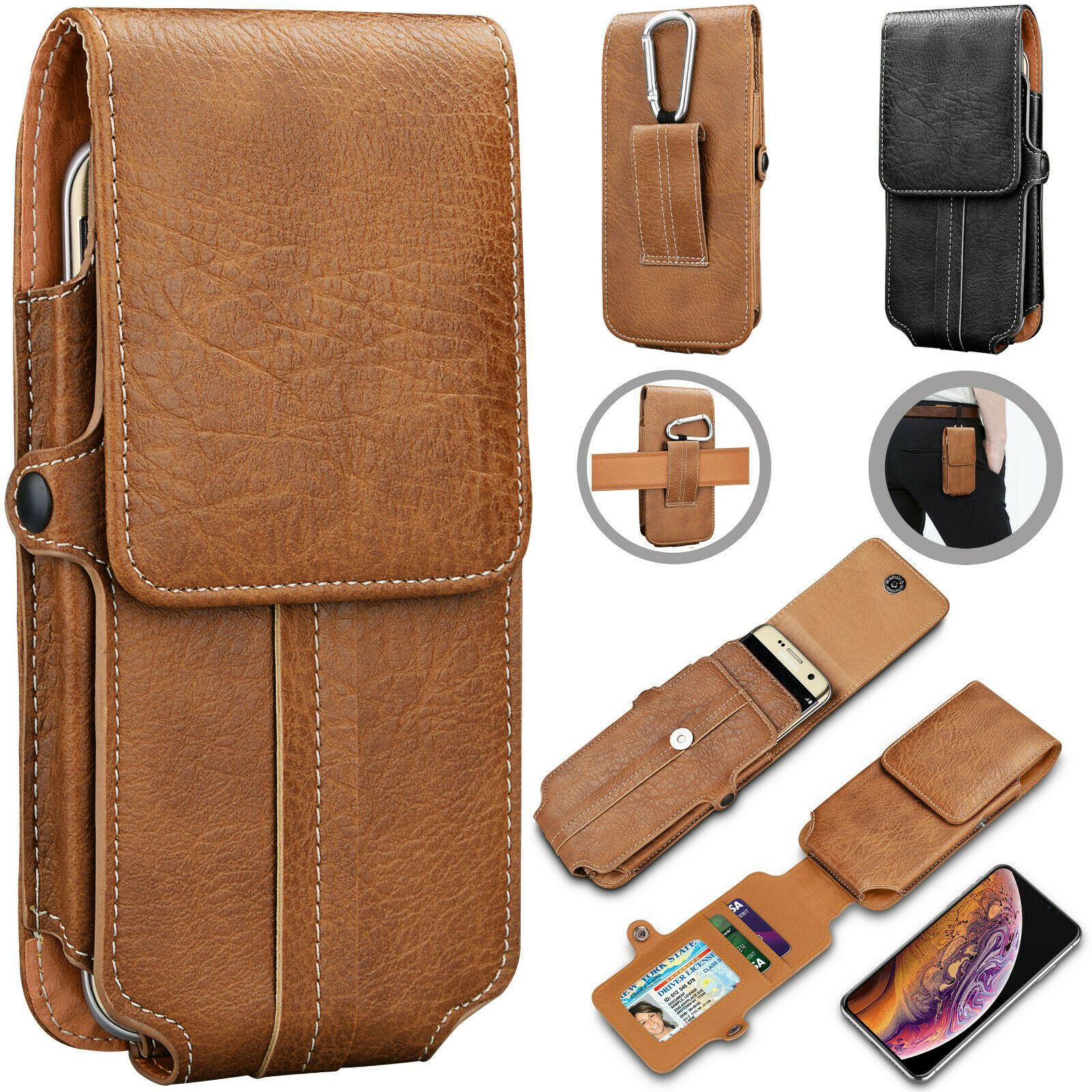 Details about vertical leather cell phone pouch card