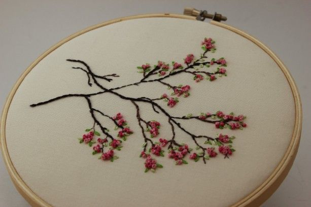 Japanese Sakura Cherry Blossoms Embroidery Hoop Art Modern Wall Hanging Beautiful Spring Fiber Art Embroidery Hoop Art Japanese Embroidery Hoop Art