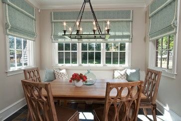 Window Treatment Breakfast Room One Big Blind On Each Set Of Windows Kitchen Window Treatments Modern Window Treatments Home