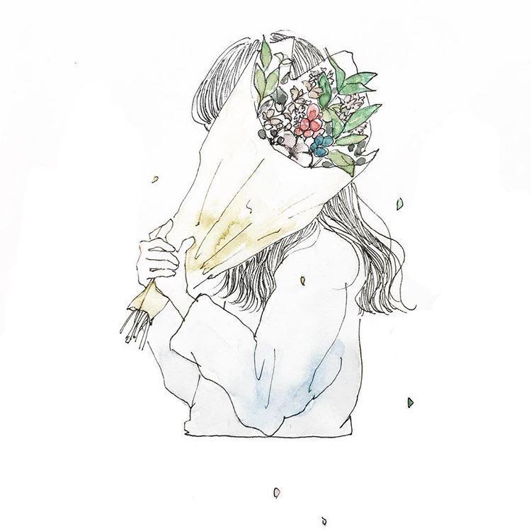 """カーリィ/kaarii on Instagram: """"花を贈るということ . #merrychristmas #art #artwork #illustration #illust #drawing #watercolor #girl #flower #watercolorpainting #イラスト #水彩 #水彩イラスト…"""""""
