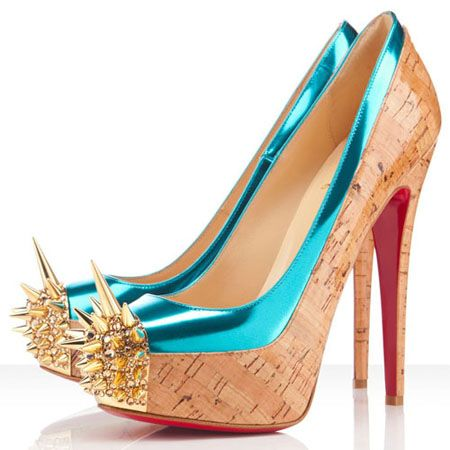 65b14edd8af Christian-Louboutin-Asteroid-160-Spike-Toe-Pumps-Turquoise. | pretty ...