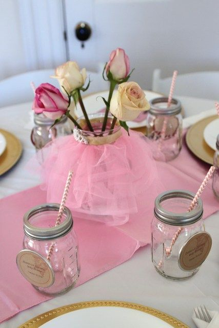 Photo 1 Of 51 Vintage Ballerina Baby Shower Sip See All Thinks Pink Tulle Gold