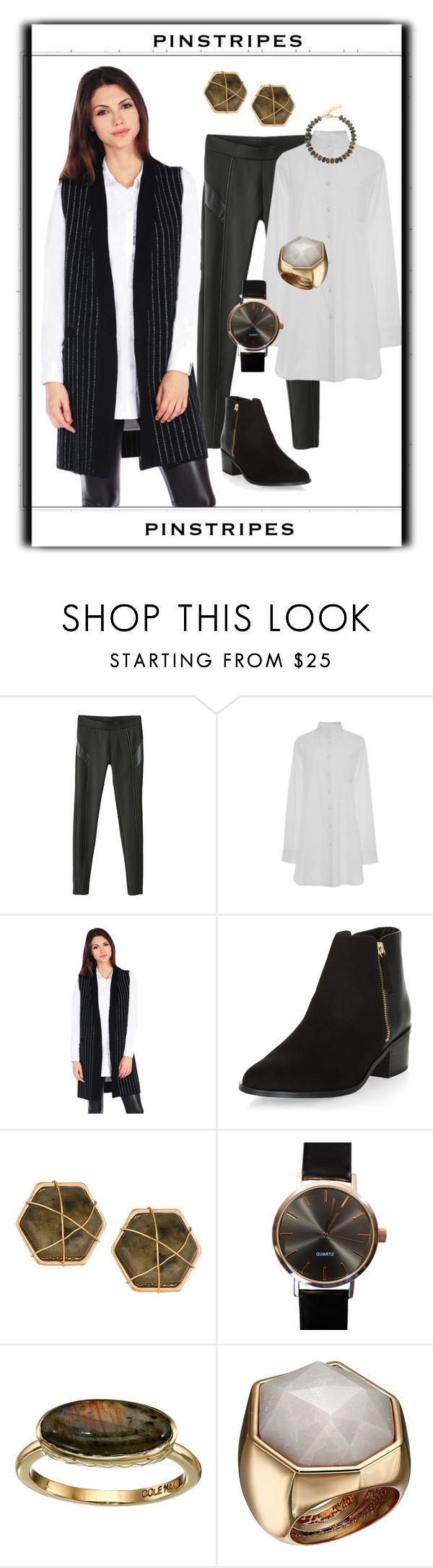 """My Pinstripe Style"" by dundiddit ❤ liked on Polyvore featuring Marisa Witkin, RD Style, New Look, Panacea, Cole Haan, Vince Camuto and Nest"