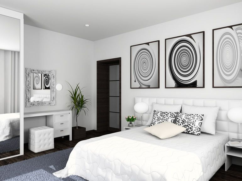Modern White Bedroom With Black And White Photo Luxe Bedroom Modern White Bedroom Modern Master Bedroom