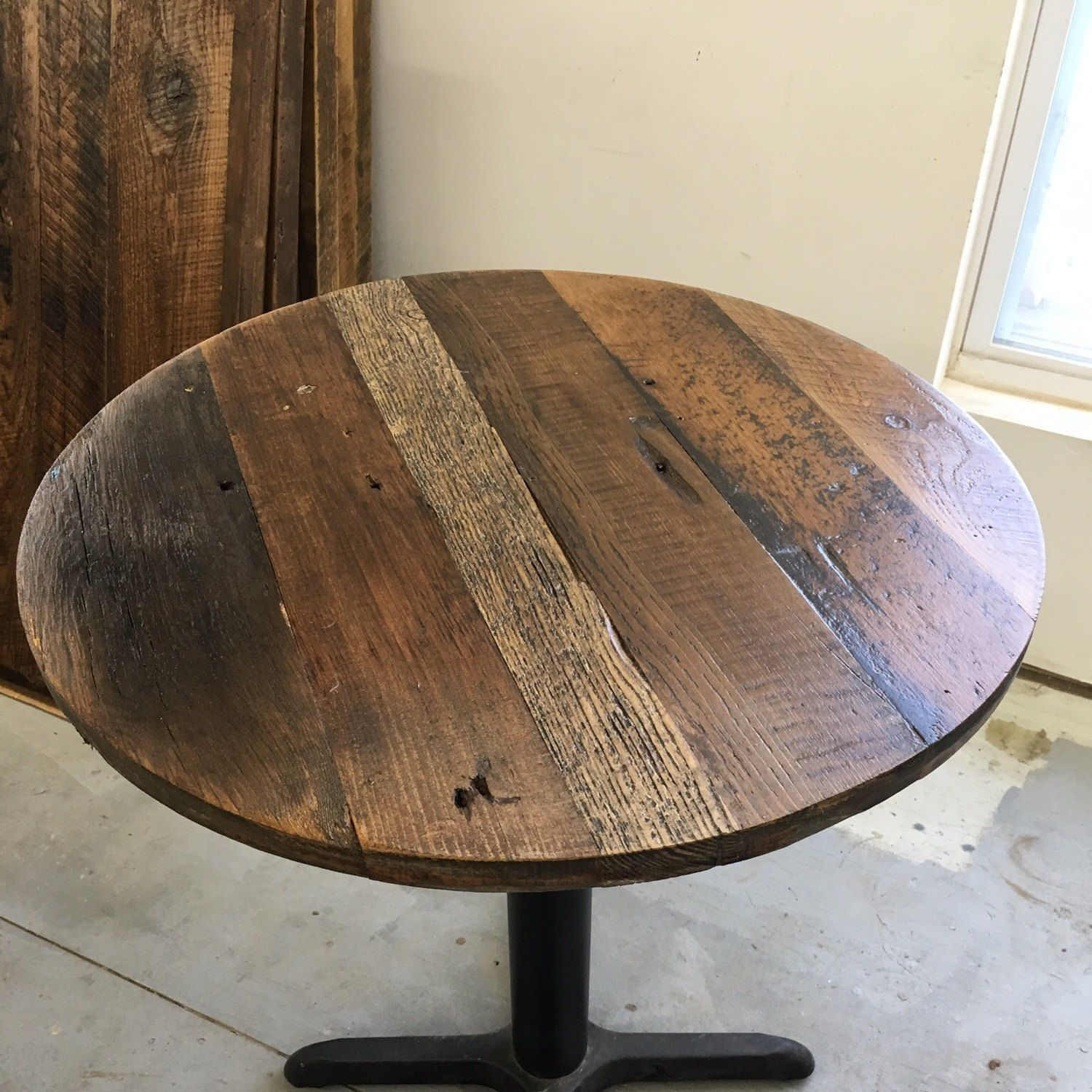 Reclaimed Wood Round Dining Table Top With Multi Stains Add Your Base