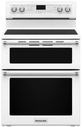kitchen aid range remodel calculator kfed500ewh kitchenaid 6 7 cu ft 30 electric 5 burner double oven convection white