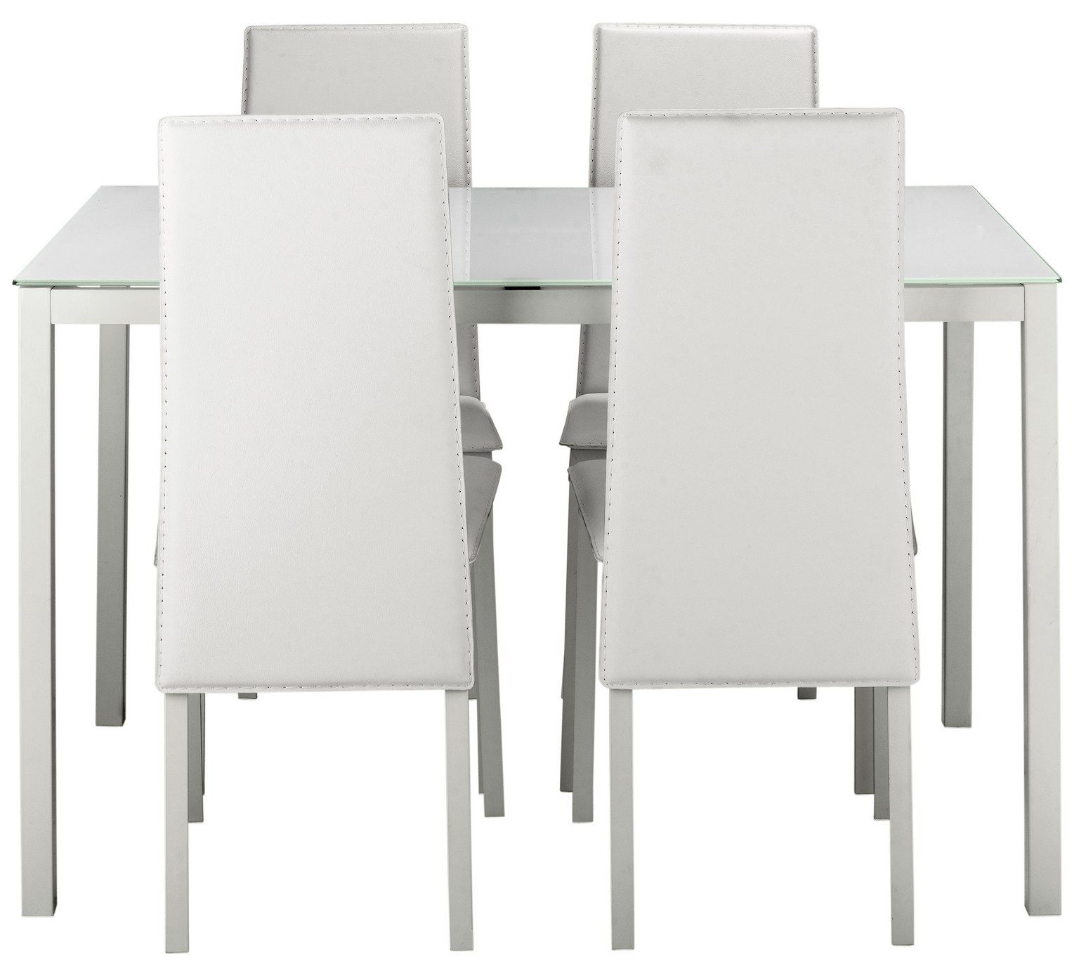 Buy Hygena Lido Glass Dining Table & 4 Chairs White at Argos