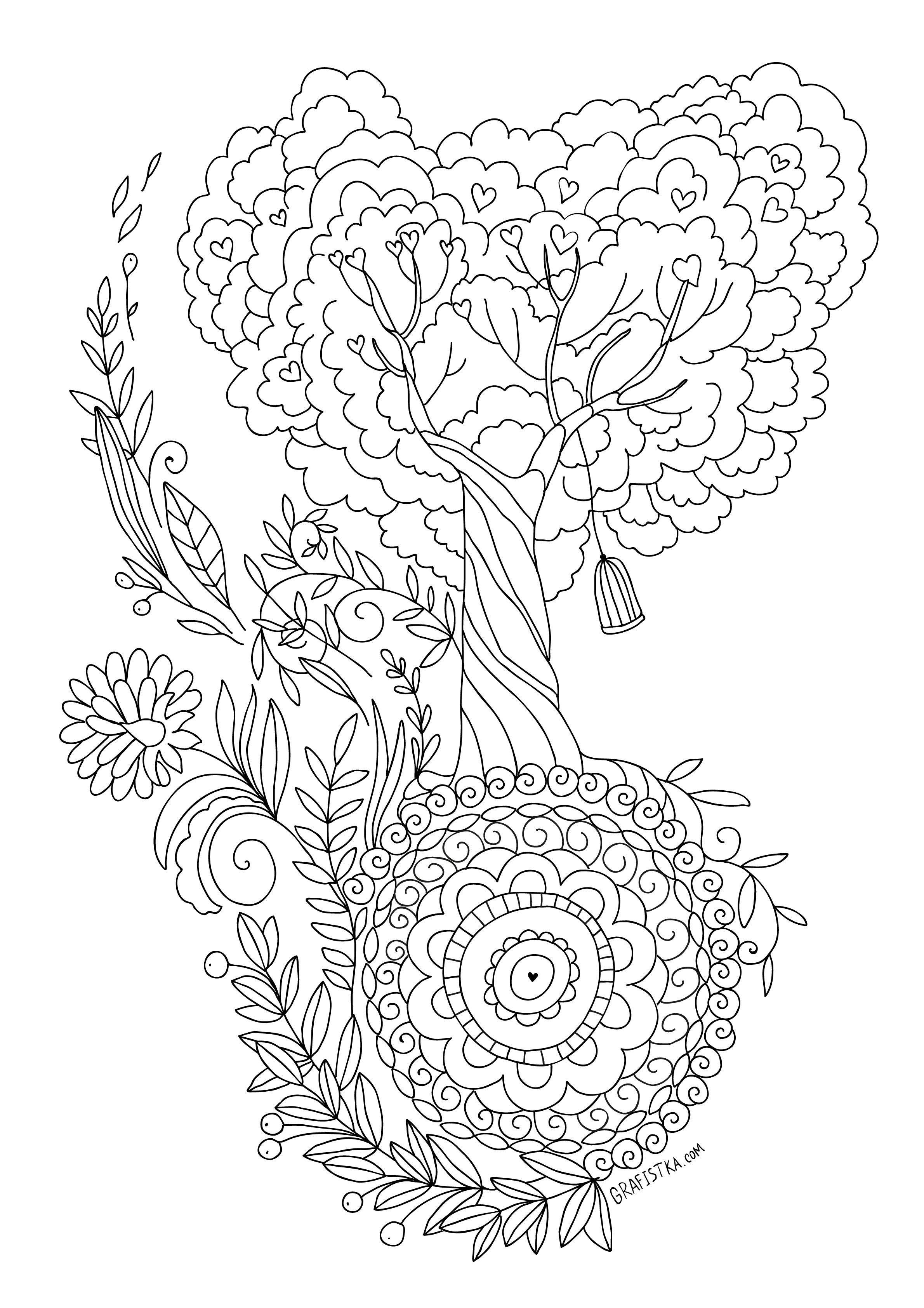 Tree colouring page for adults   adult coloring pages   Pinterest ...