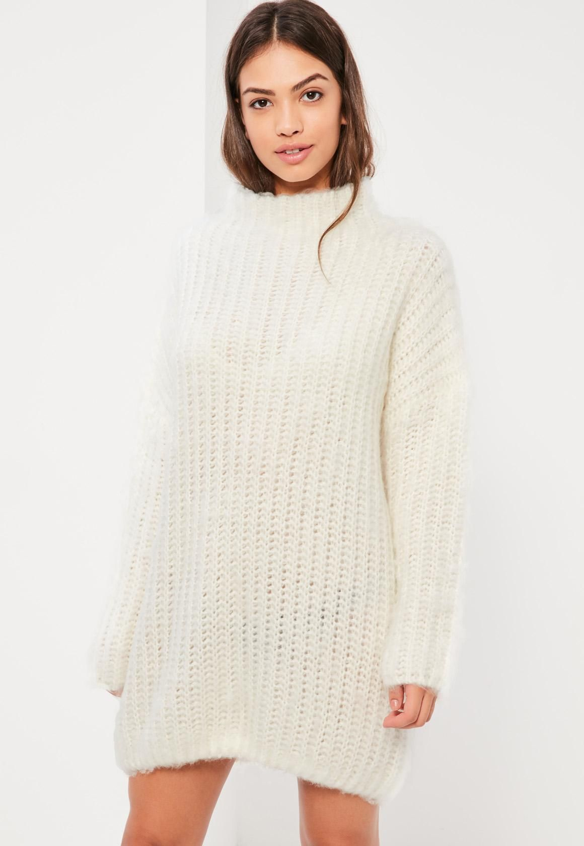 Cream Brushed Chunky Stitch Sweater Dress - Missguided | • Sites ...