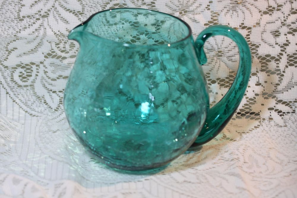 Mid Century Modern Blenko Aqua Blue Pinched Crackle Glass Pitcher