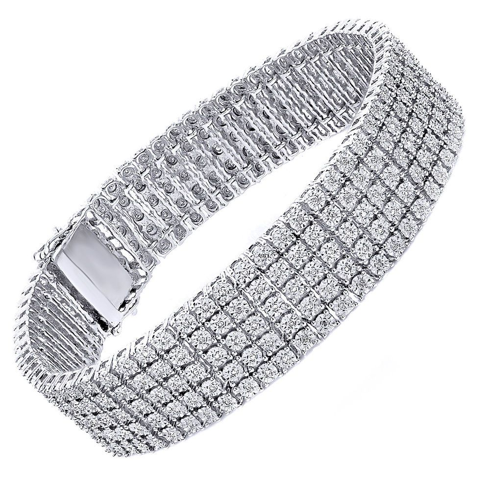 5 Row Mens Tennis Bracelet 1 5 Ct Round Diamonds 925 White Gold Finish Fanook Tennis Bracelet Diamond Sterling Silver Heart Bracelet Diamond Bracelet