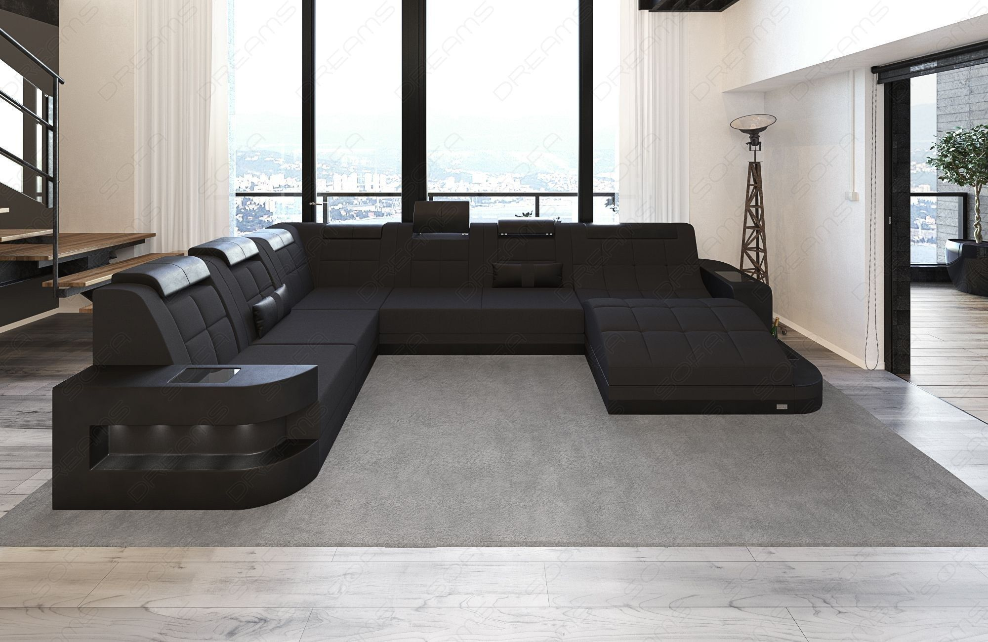 Modern Design Sofa Jacksonville XL with LED -black - Mineva 4