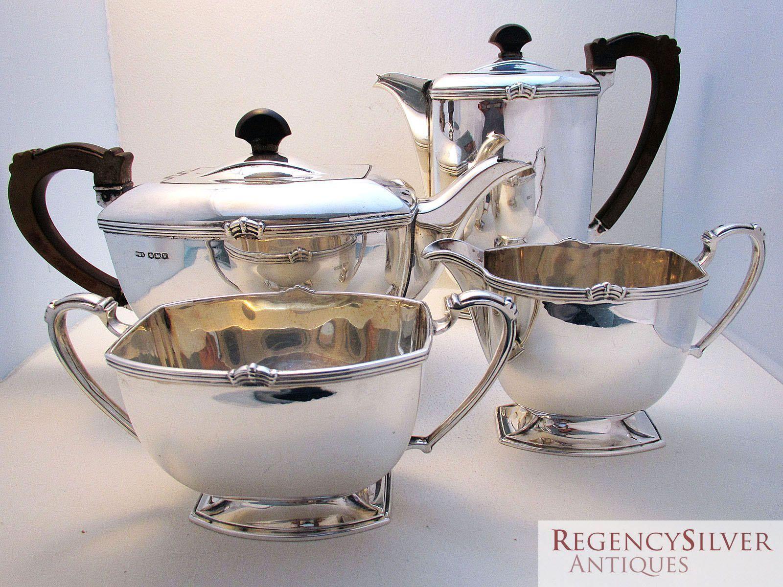 Superb ART DECO 4 four piece Solid Sterling Silver Tea Coffee Pot