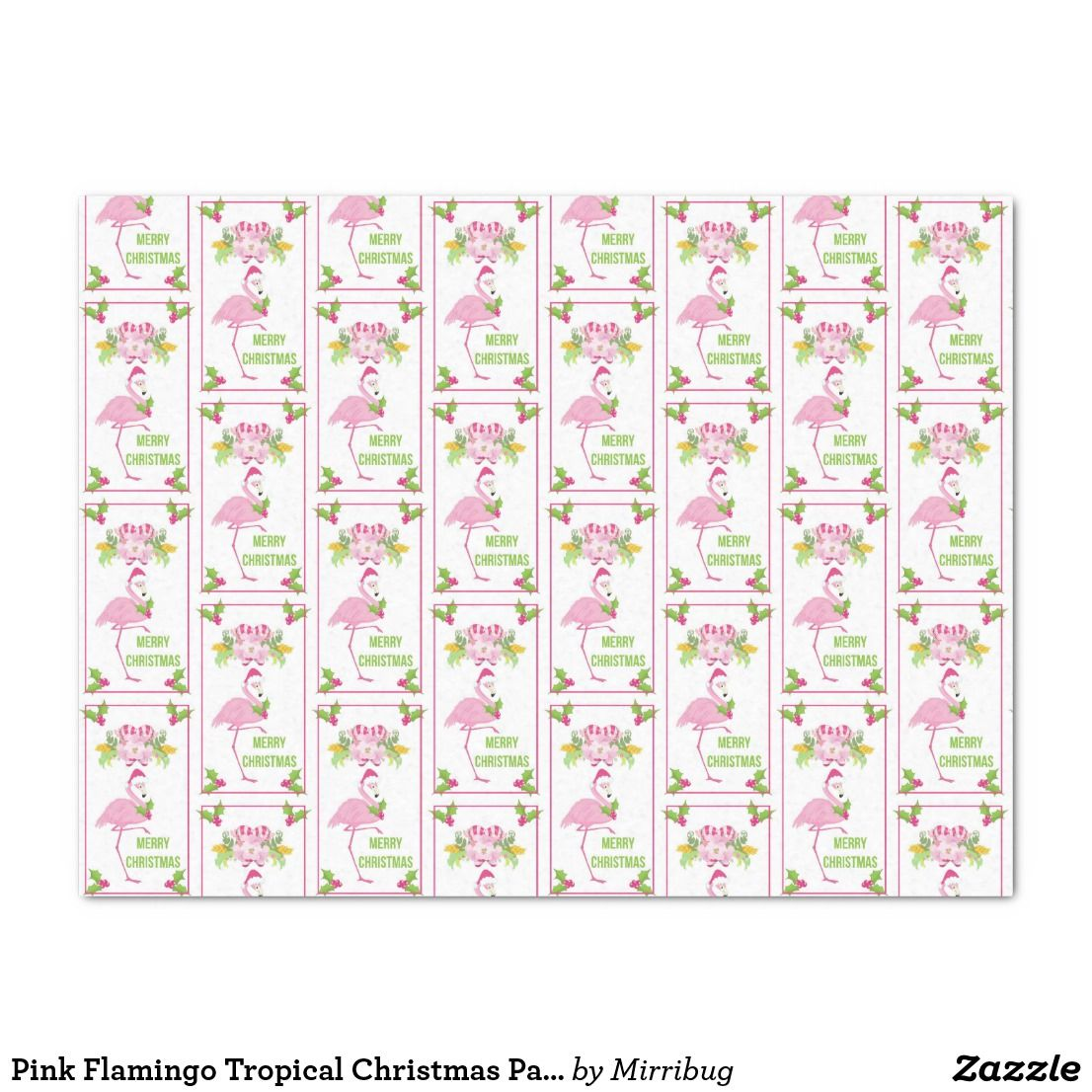 Pink Flamingo Tropical Christmas Pattern Tissue Paper