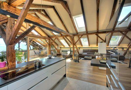 Innenraum scheune pinterest scheunen umbau und for Fachwerkhaus modern einrichten