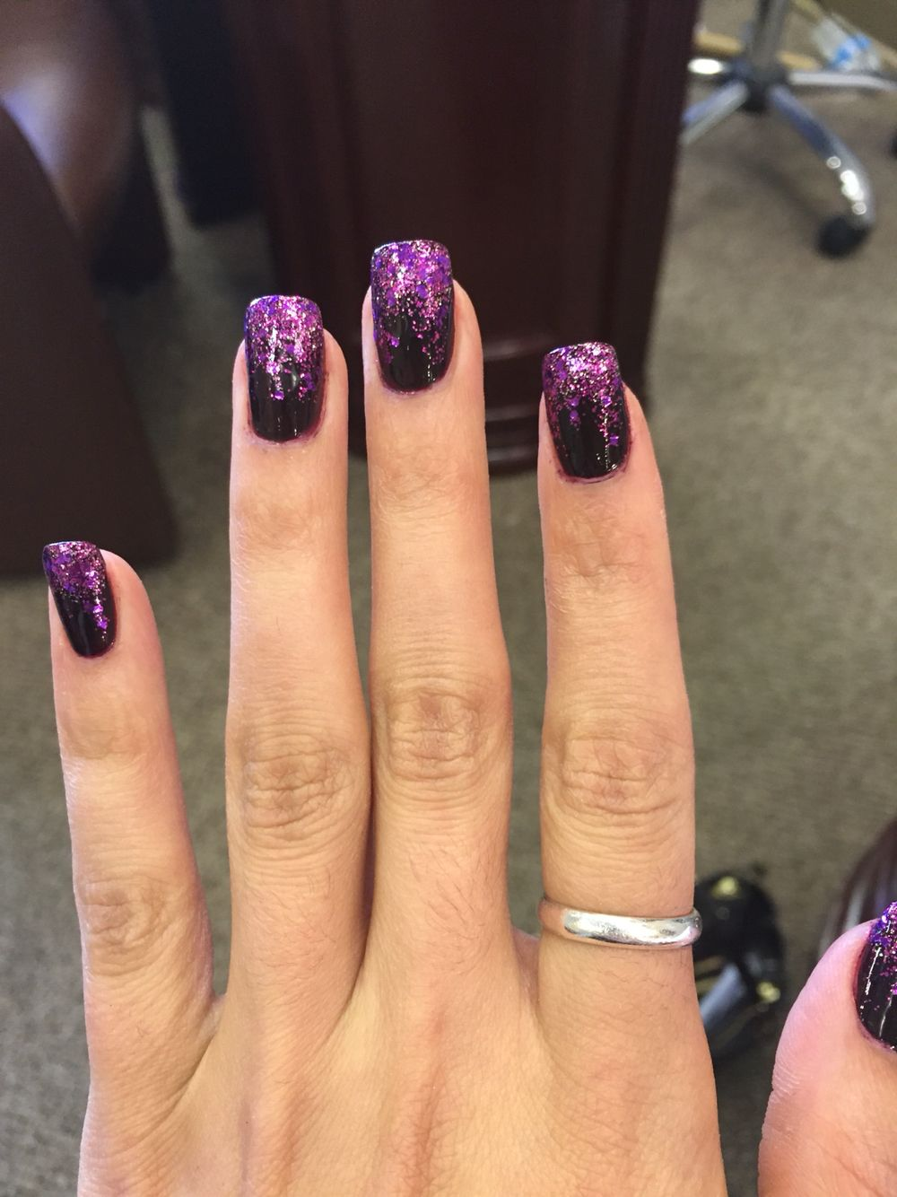 Plum Nail With Purple And Silver Sparkles