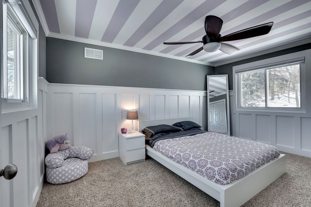 Contemporary Kids Bedroom With Wainscoting, Ceiling Fan