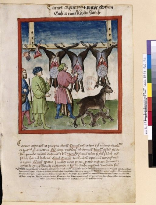 Tacuinum Sanitatis - BNF Ms. Latin 9333 Date: Rhineland, mid- 15th century.  fol 71r Gaißen- und Kitzfleisch (Ziege und Reh)