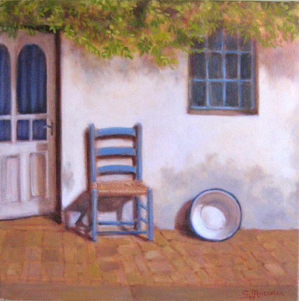 la sedia azzurra opera d 39 arte di giancarlo muzzolon
