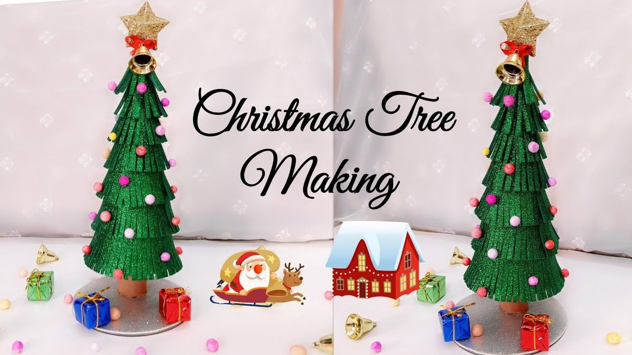Christmas Tree Making Christmas Tree From Glitter Foam Sheet Christmas Tree Decorat Christmas Tree Glitter Christmas Tree Crafts Christmas Decorations For Kids