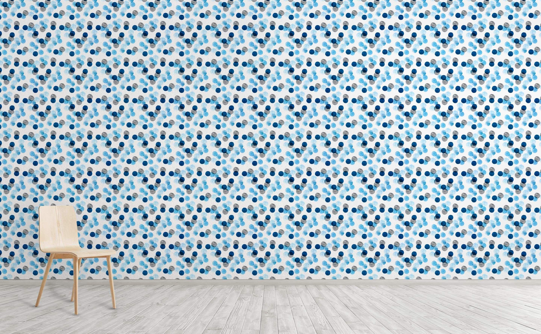 Blue Watercolor Dots Wallpaper For Walls Dots Wallpaper Wall Wallpaper Blue Watercolor