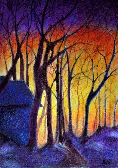 evening landscape original coloured pencil drawing by prismatixs via dawanda