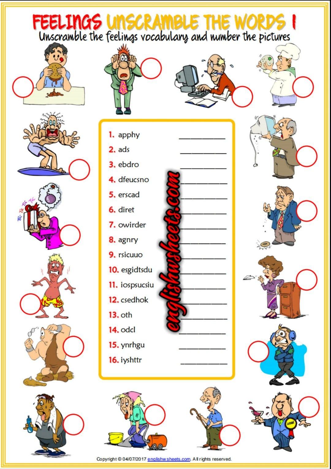 Feelings Emotions Esl Printable Unscramble the Words Worksheets For ...