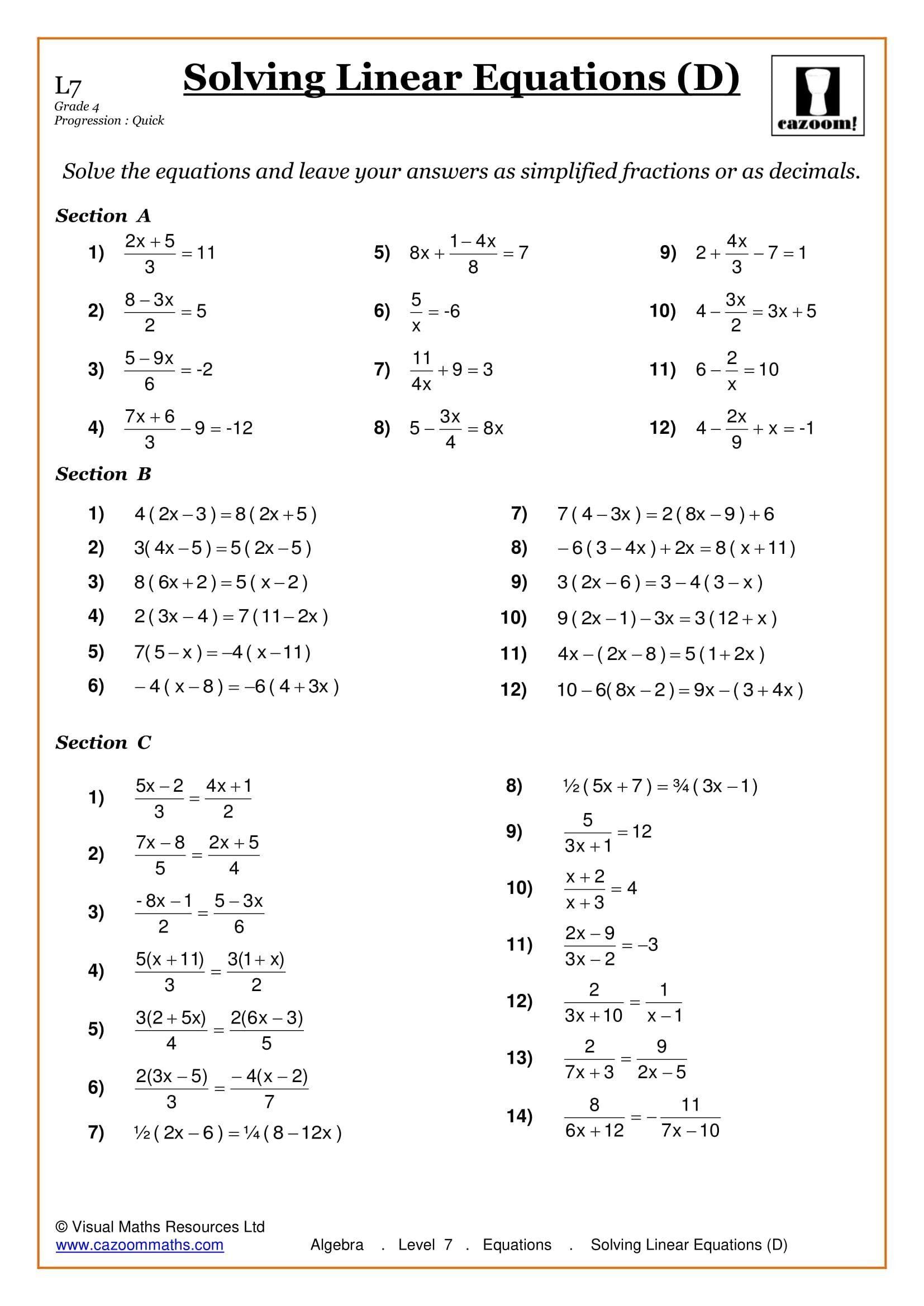 3 Mathe Arbeitsblatter Fur Einfache Gleichungen Der Klasse