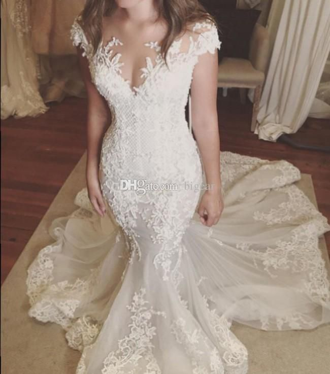 Discount Illusion Neck Lace Mermaid Wedding Dress With Cap Sleeves ...