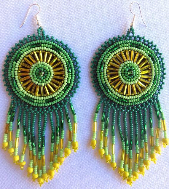Mexican Huichol Round Beaded Green Earrings by Aramara on Etsy