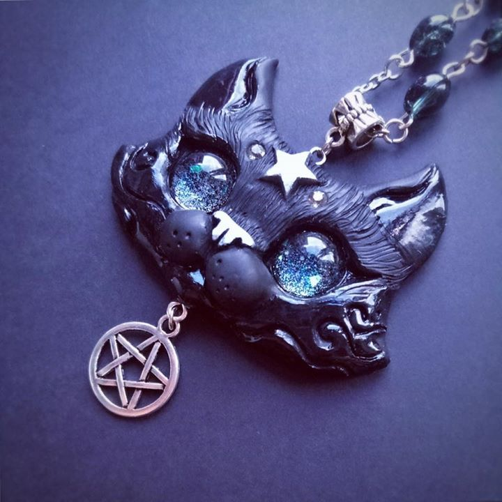 mysterious black cat necklace by fleurdelapin