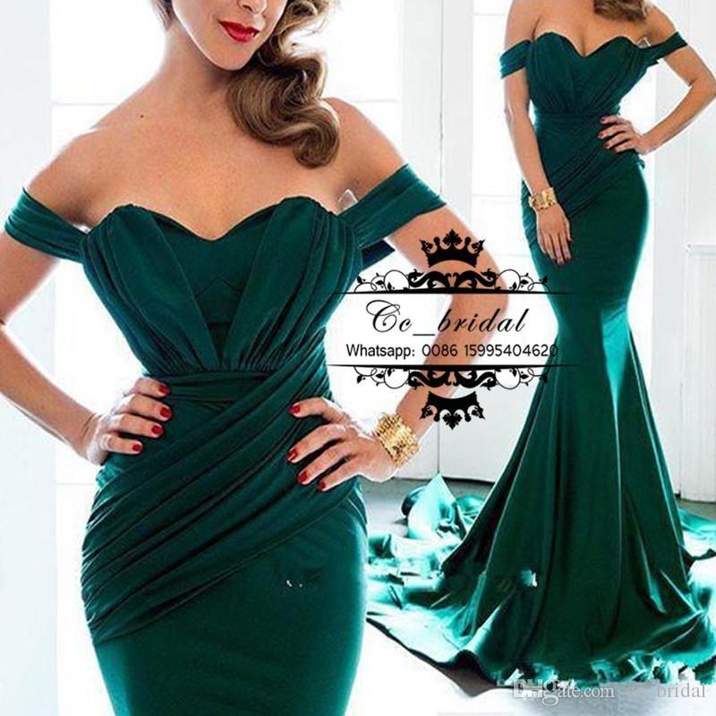 Emerald Green Long Mermaid Evening Dresses New y f the Shoulder
