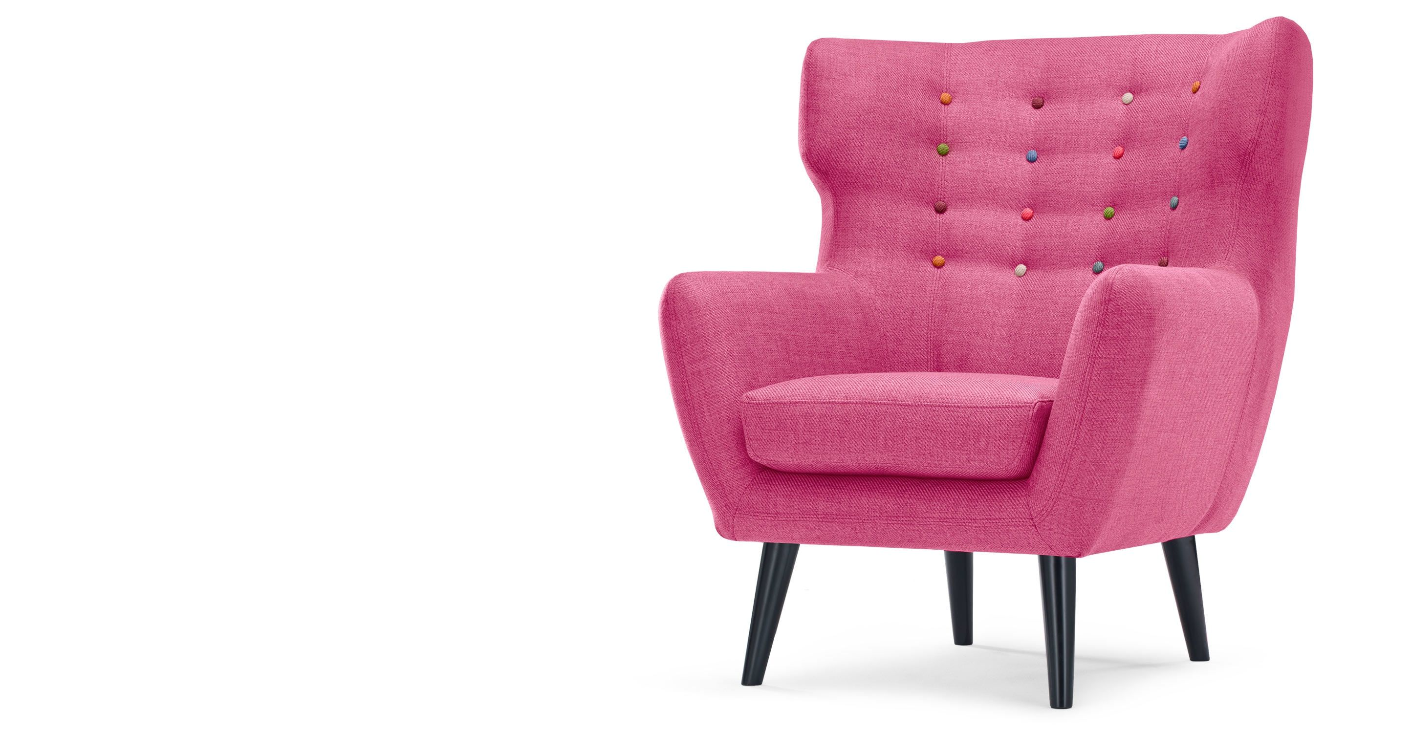 Kubrick Wing Back Chair Candy Pink With Rainbow Buttons from Made