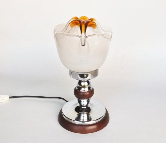 Vintage Mazzega Style Table Lamp Pair   Murano Art Glass Globe  Space Age  Set of Two Bedside Lights  70/'s Italy