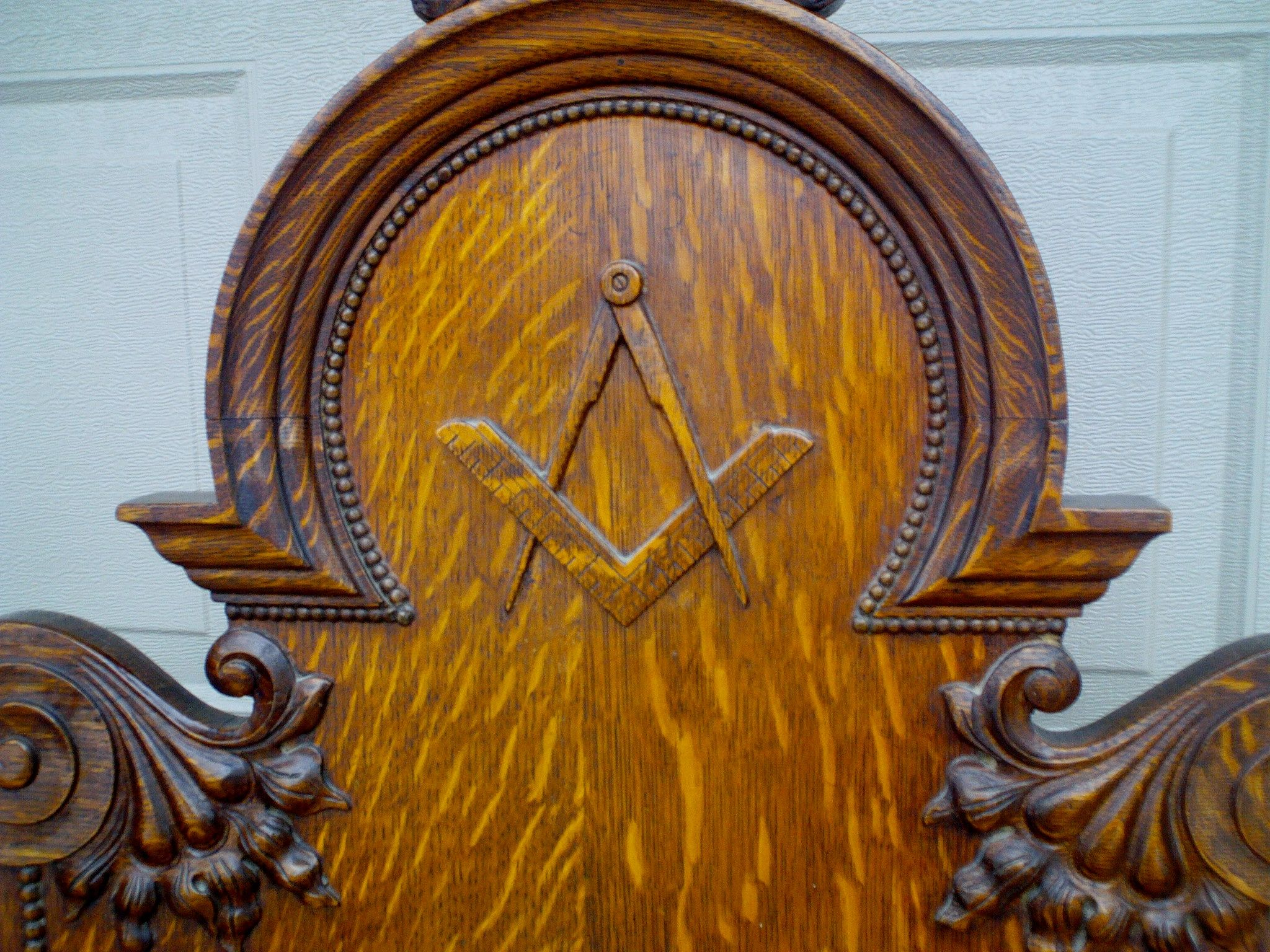 Antique Gothic Ornate Carved Oak Masonic Chair