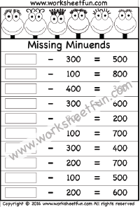 Subtraction – Missing Minuends – One Worksheet   Addition and ...
