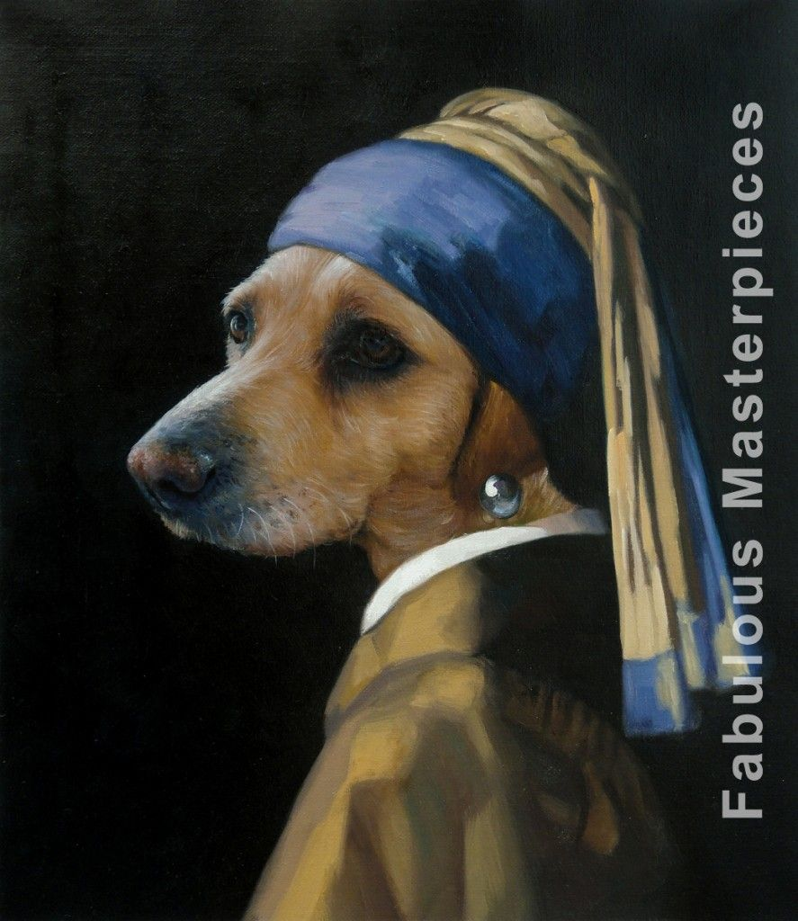 Dog With A Pearl Earring, Oil On Canvas, Painted By Fabulous Masterpieces  Great