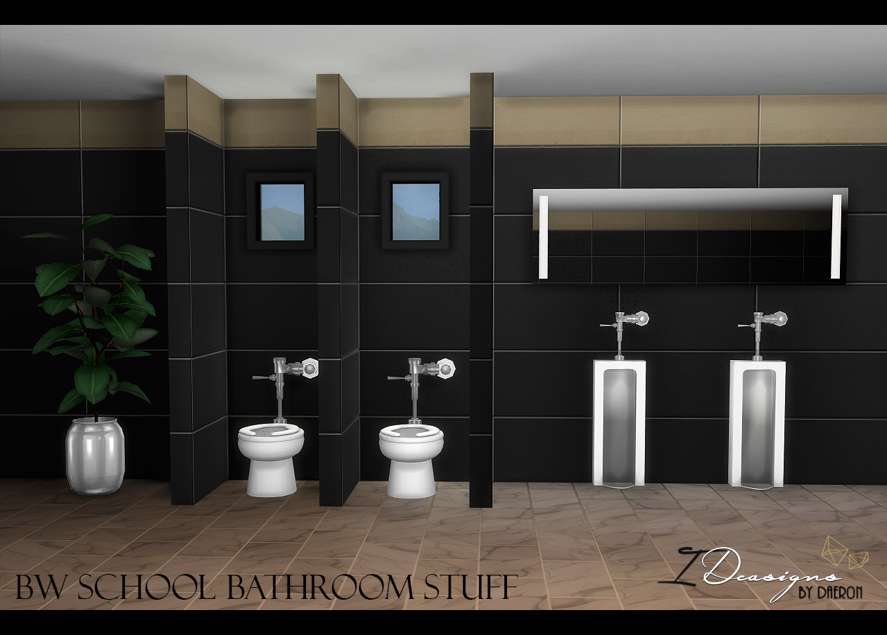 Bw School Toilet And Urinal New Meshes Sims 4 Designs Sims 4 Sims School Bathroom