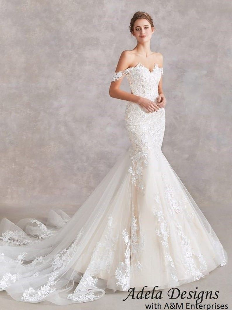 Sweetheart Lace Wedding Dress Bridal Gown Mermaid Trumpet With Etsy In 2021 Lace Sweetheart Wedding Dress Bridal Gowns Mermaid Wedding Dresses Lace [ 1059 x 794 Pixel ]