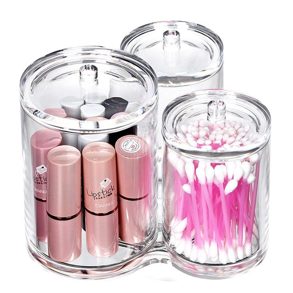 Oriskey Clear Acrylic Cotton Ball & Swab Holder, Makeup Accessories Wipes  Brush & Cosmetic Pads Organizer, Q-tip Storage Container Box Case with Lids