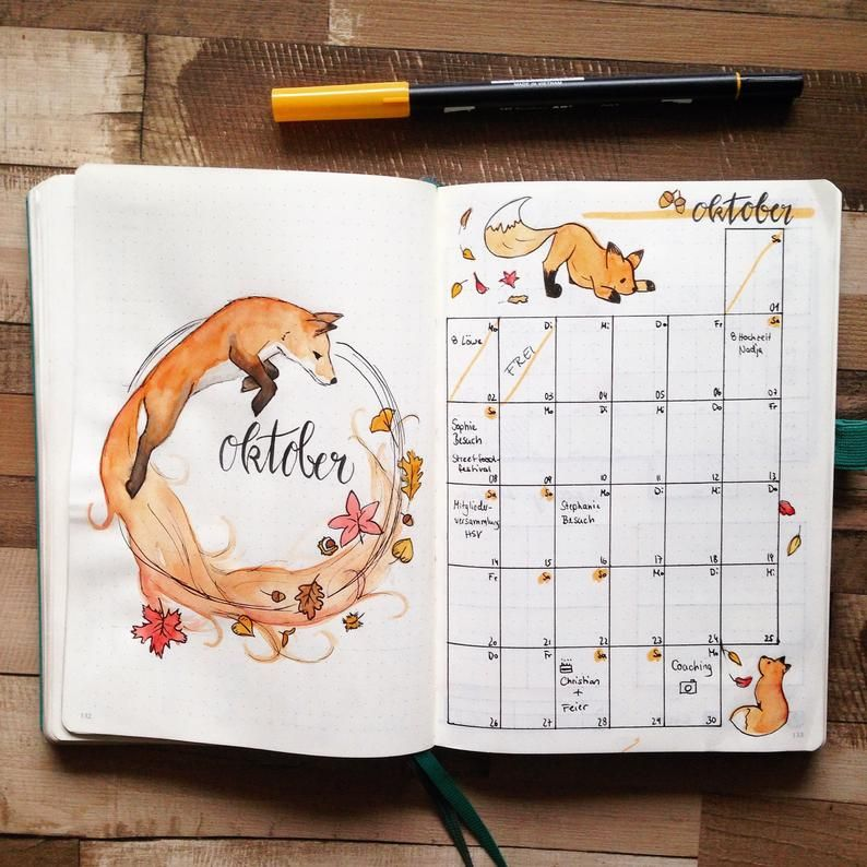 Bullet Journal, Bujo, Monthly Layout, Fox, Fox, Planner Stickers