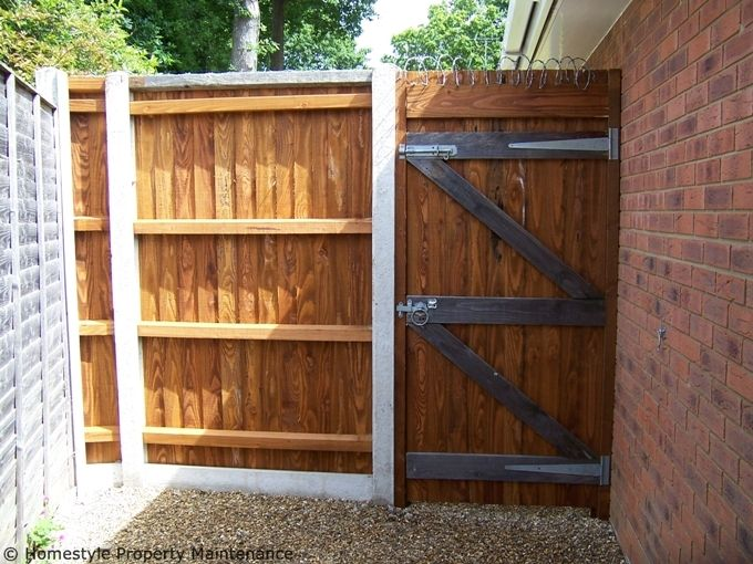 New garden fence side gate installation in Verwood Dorset