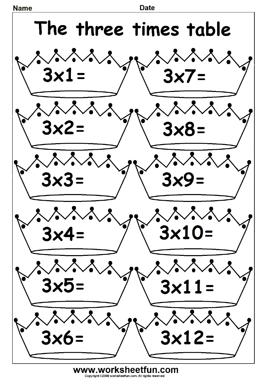 worksheet Multiplication Worksheets 3 Times Tables 2 3 4 5 6 7 8 9 10 11 and 12 times table fun worksheets