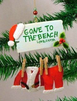 Xmas Waffle Knit Kitchen Towel Gone to the Beach