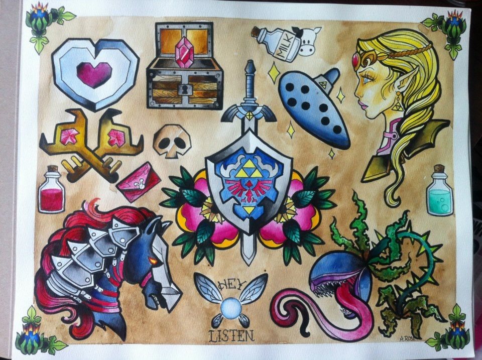 zelda tattoo designs by aaliy rose in love