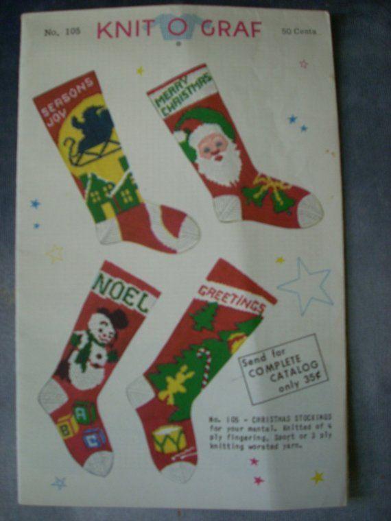 Vintage 1952 Knit-o-Graf No.105 Knitting Pattern Christmas ...