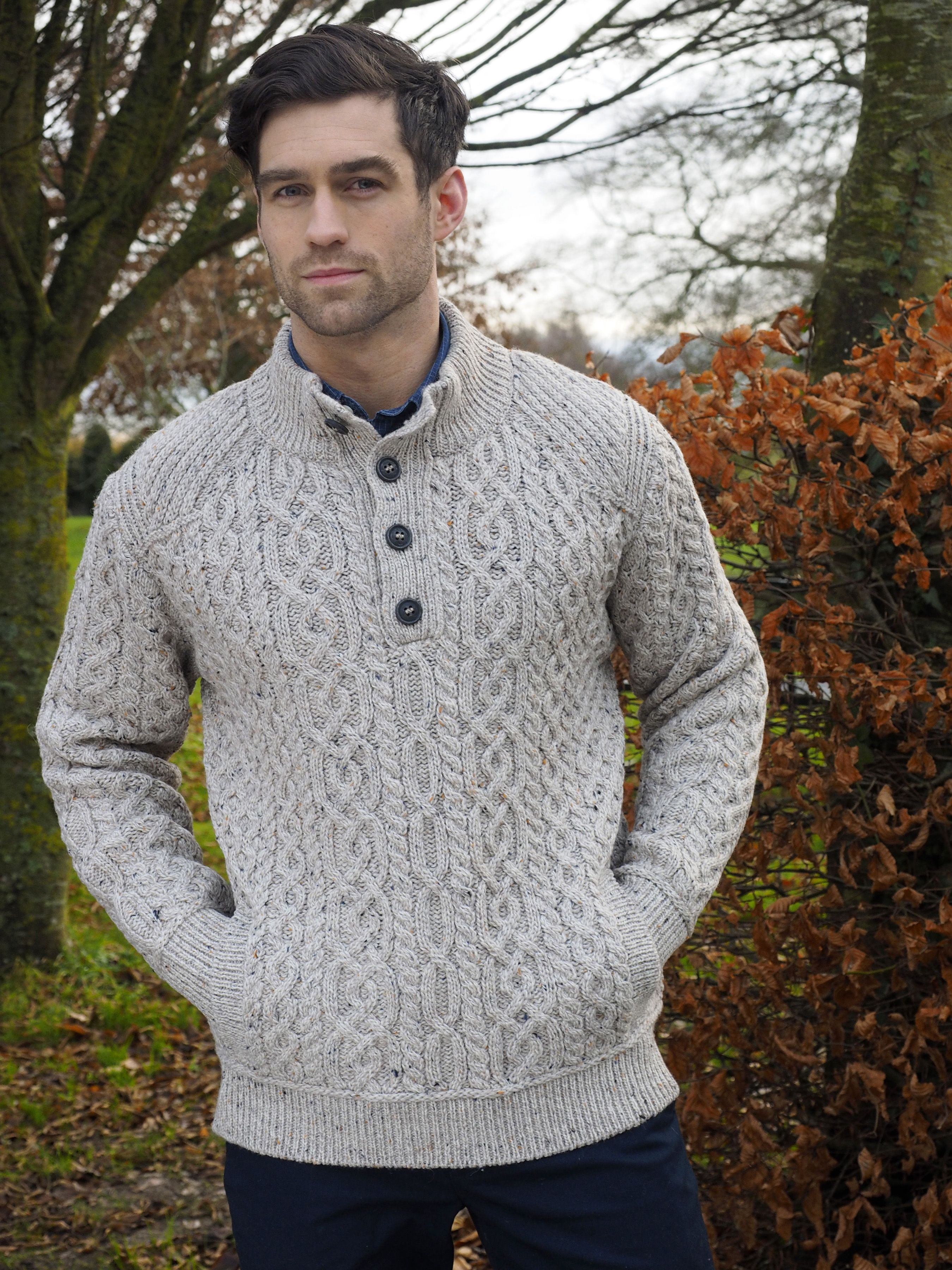 7a77b451db94dd TRADITIONAL KNIT 4 BUTTON SWEATER X4797. Find this Pin and more on Aran  design for Men by Aran Crafts Ireland.