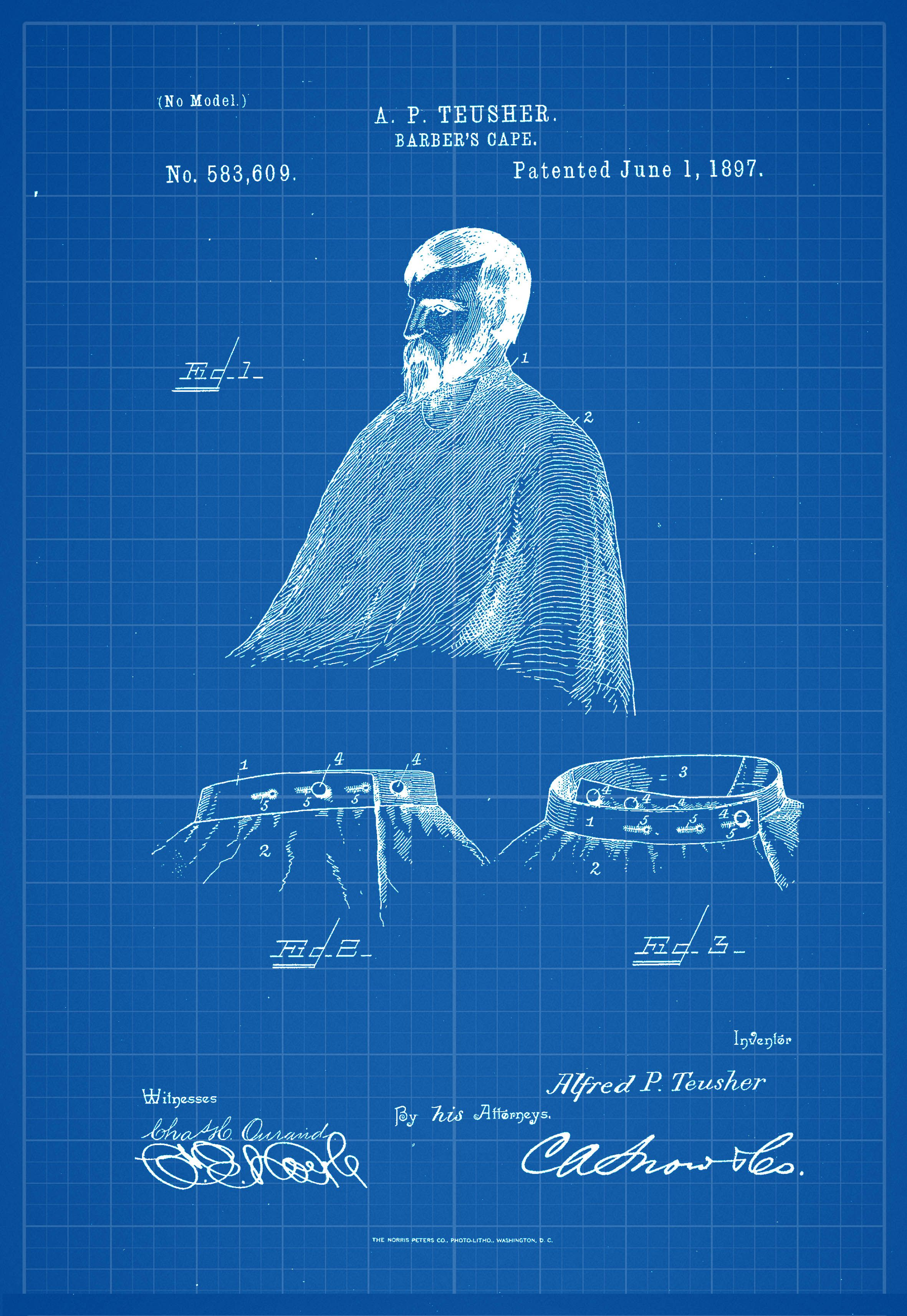 Barbers cape antique patent poster blueprint cape barbers cape antique patent poster blueprint malvernweather Image collections