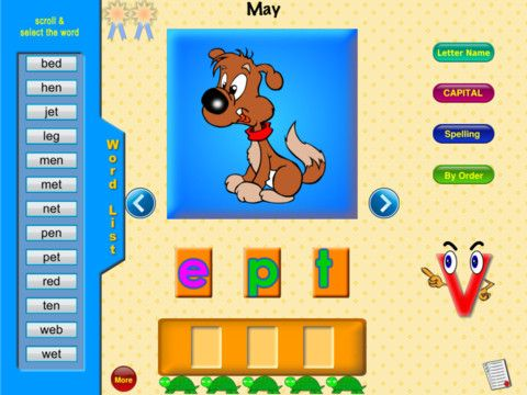 Free app April 19th: Phonics Make a Word supports both Phonics and Spelling. The application is for children just beginning to read. The words all have short vowel sounds. More advanced children should try Phonics Advanced, with long vowel sounds and double vowels.